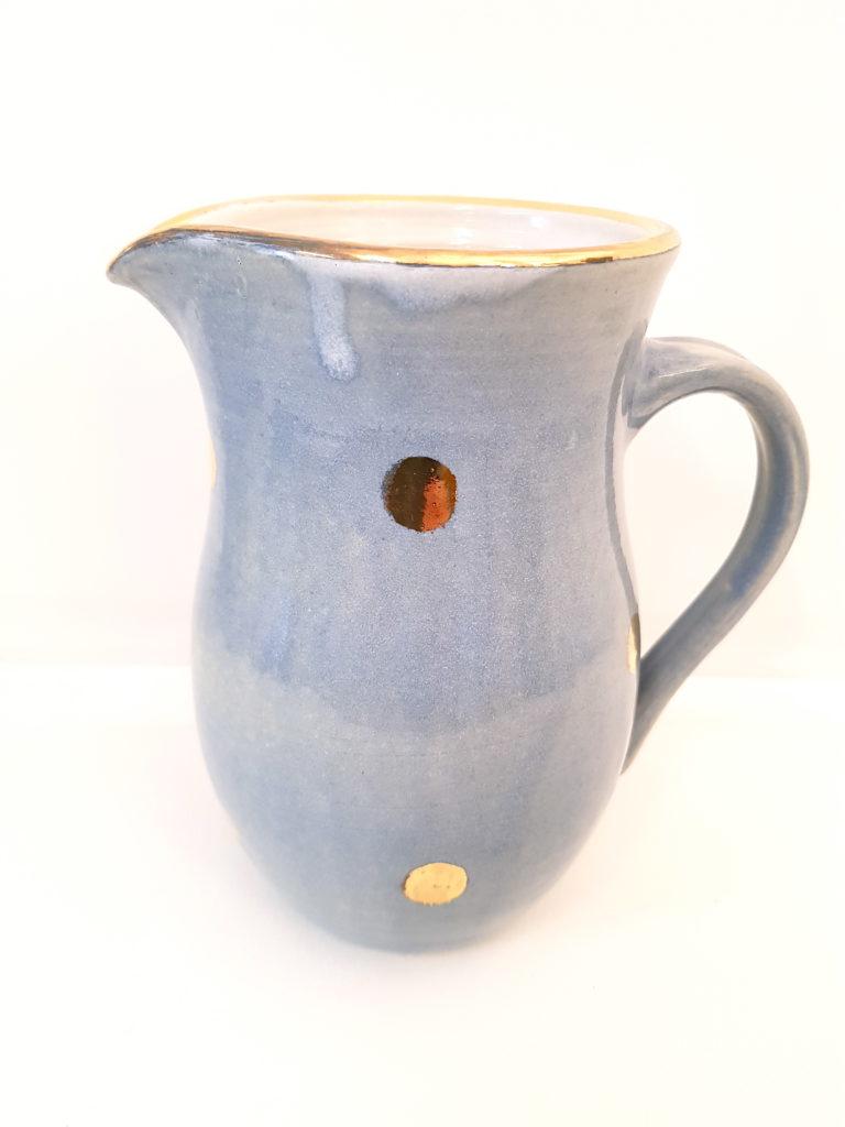 Blauer Krug mit Golddots, Unikat, Keramik, Krug