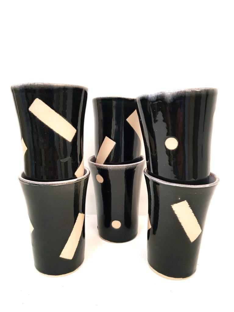 Keramikbecher sw, Unikat, Keramik, Handgedreht
