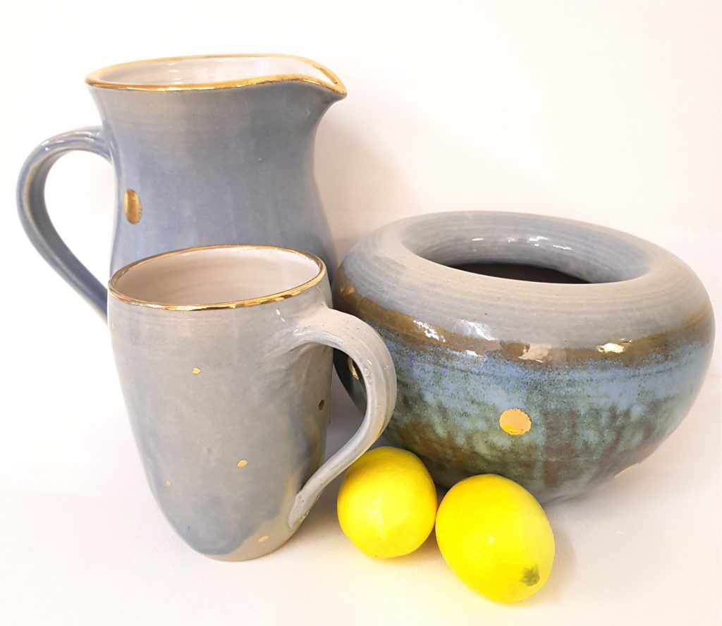Blaue Keramik mit Golddots, Schale, Unikat, Keramik