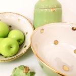 Grüne Keramik mit Golddots, Schale, Unikat, Keramik