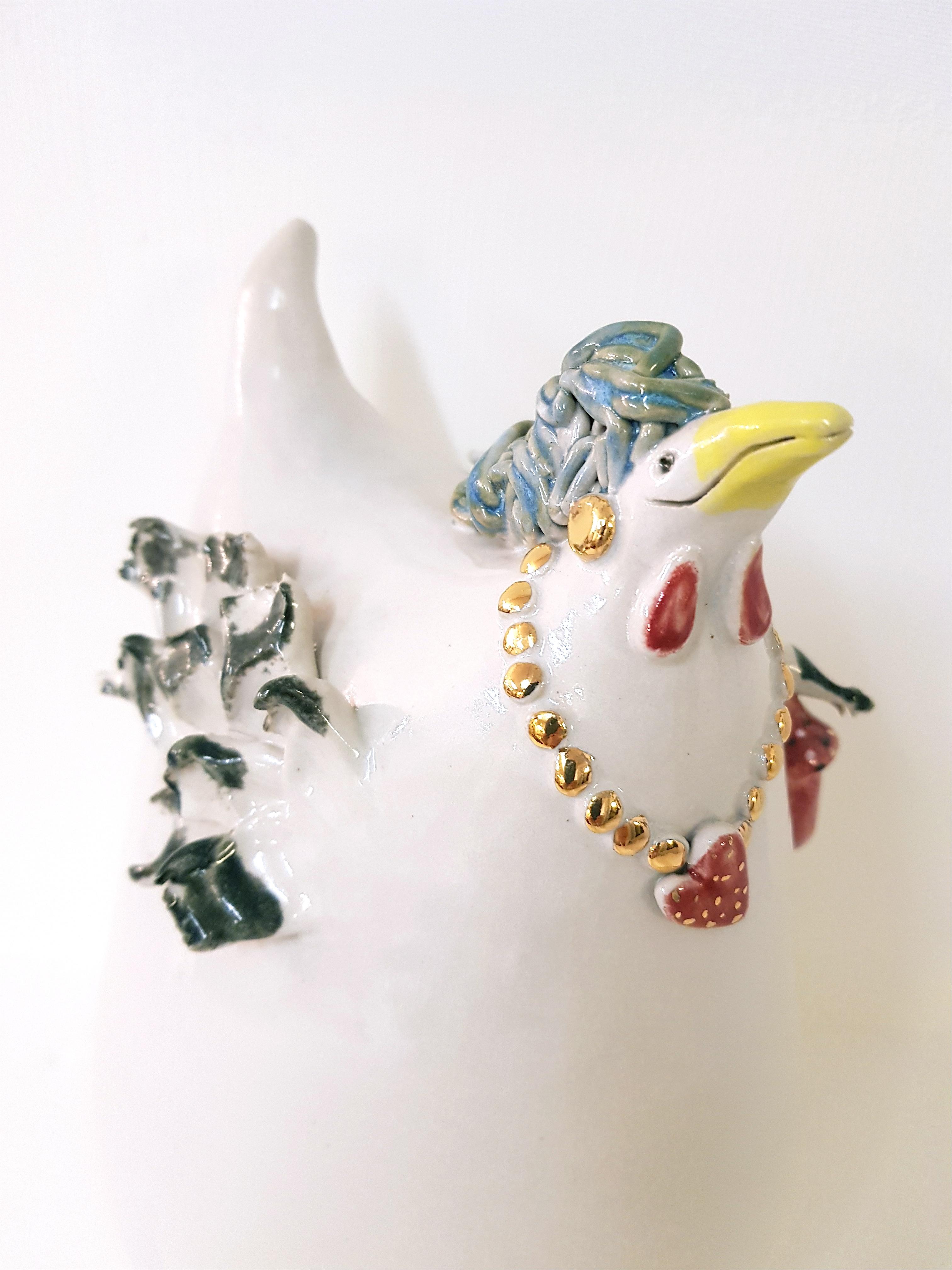 HEART BAG, Keramikhuhn, Unikat, Keramik, Crazy Chick