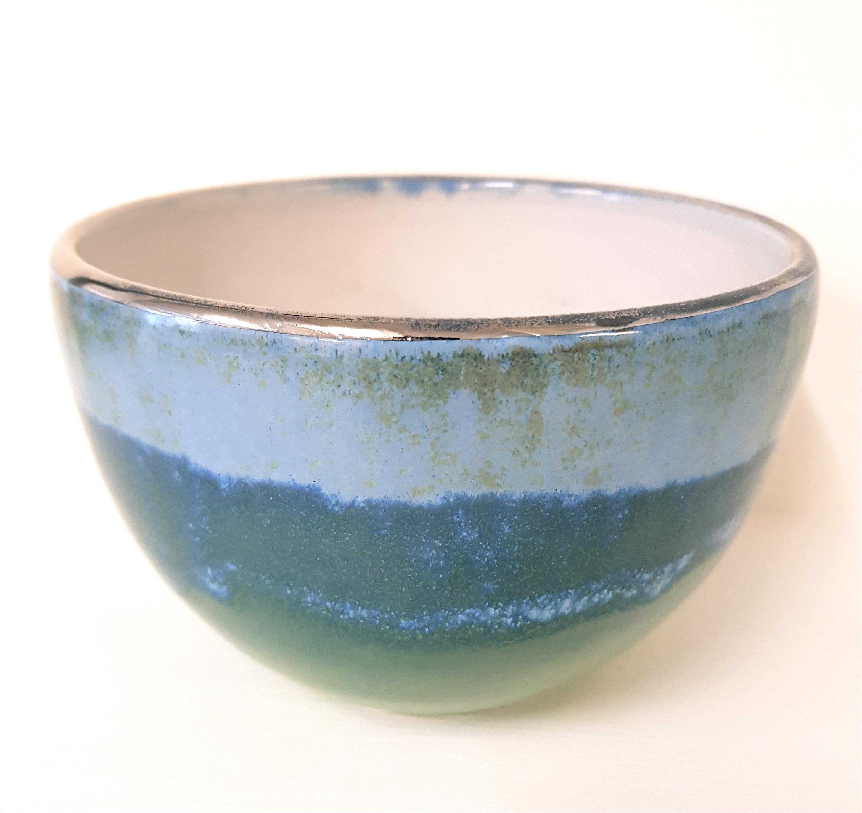 Schale mit Silberrand, Schale, Unikat, Keramik,