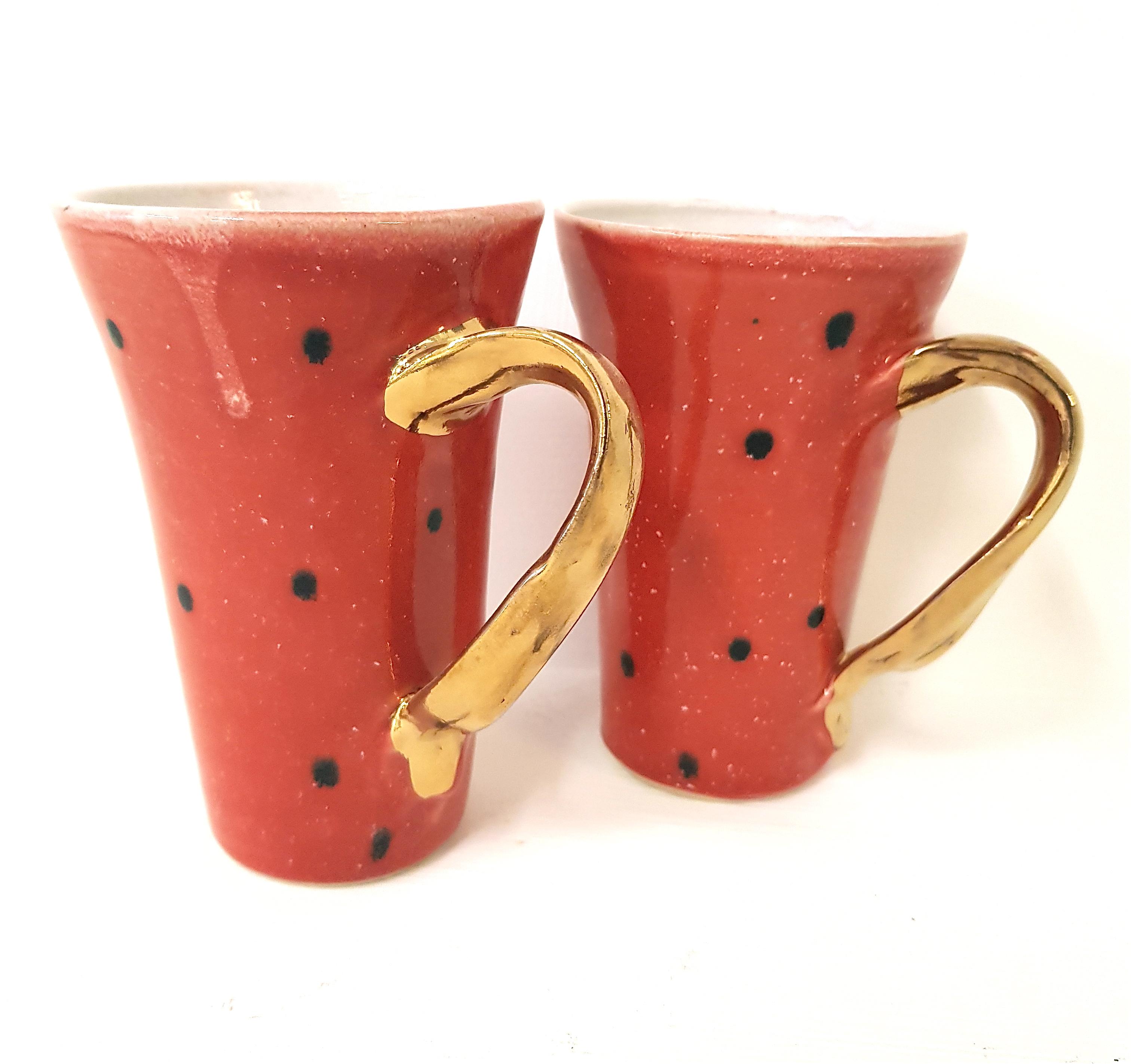 "Henkeltasse ""rot"", Henkeltasse,Unikat, Tasse, Keramik, Steinzeug, töpfern, handmade"