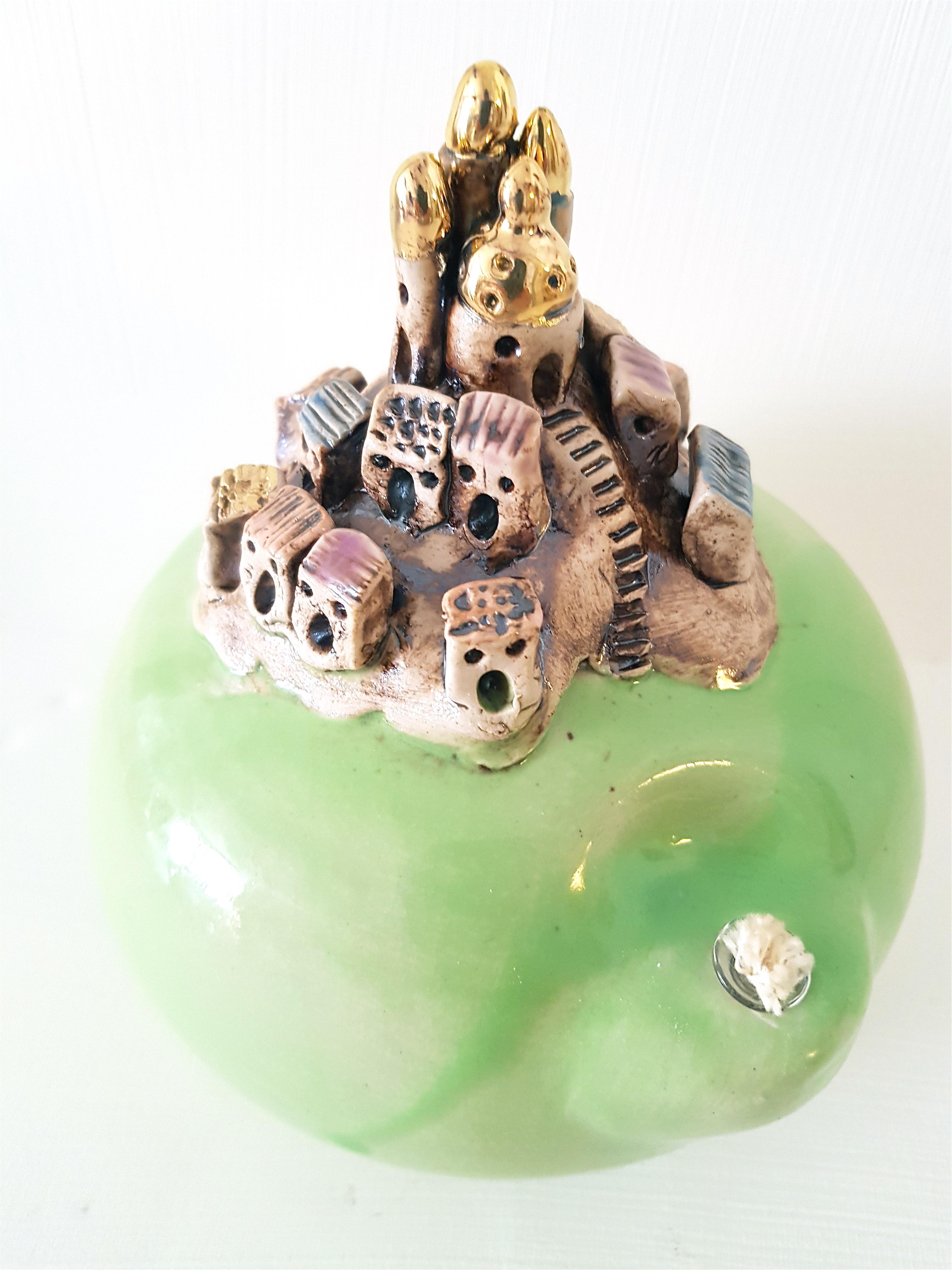 Oellämpli grün, Oellampe, Städtli, Keramik, Unikat, handmodelliert