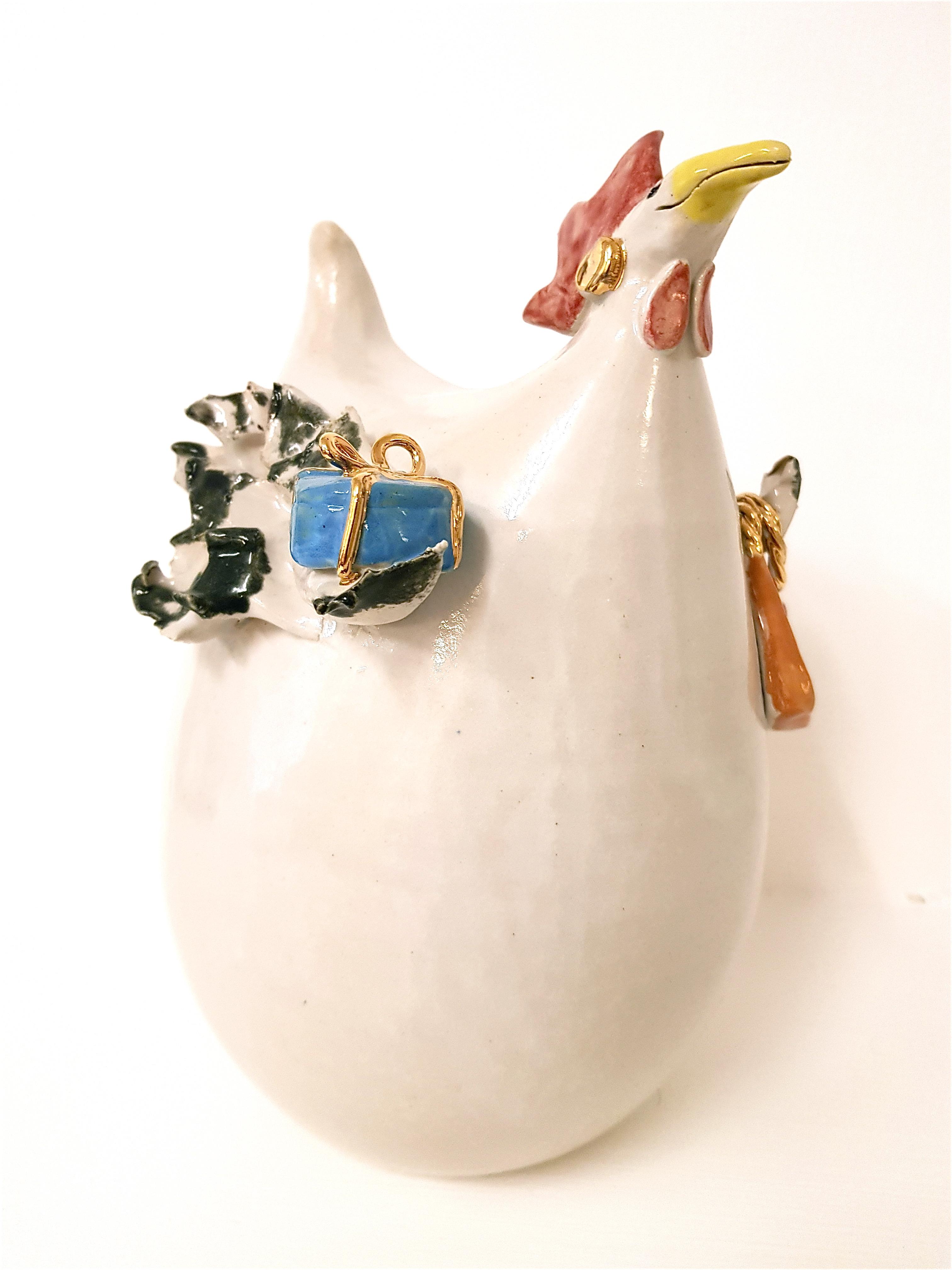 CARTIER NO. 1 Keramikhuhn, Unikat, Keramik, Crazy Chick, Töpferei, la ceramica, Basel